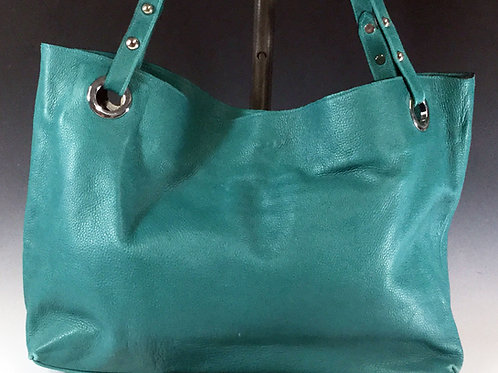 """""""Teresa Tote"""": Teal with Black and White Interior"""