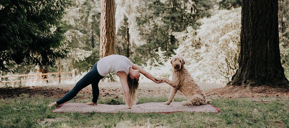 lady holding yoga pose outdoors