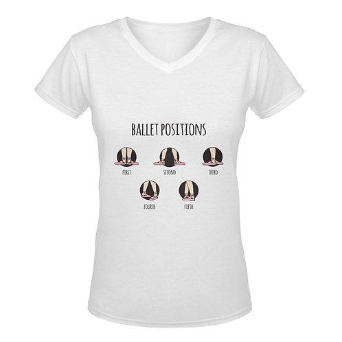 Camiseta blanca con cuello de pico Ballet Positions