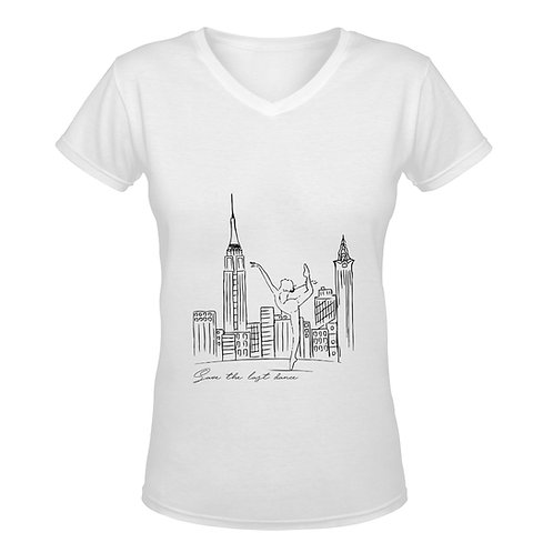 Camiseta blanca con cuello de pico Save The Last Dance
