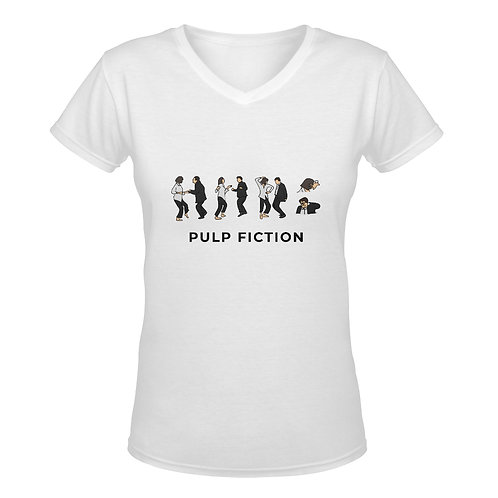 Camiseta blanca con cuello de pico Pulp Fiction