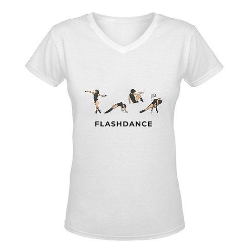 Camiseta blanca con cuello de pico Flashdance