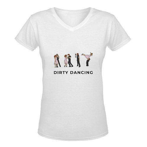 Camiseta blanca con cuello de pico Dirty Dancing