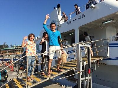 ダイビングが終わり初島フェリーで帰路.jpg