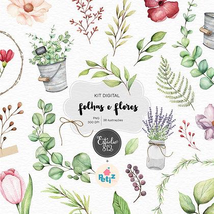 Kit Digital Folhas e Flores