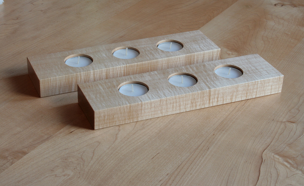 Curly Maple Candleholders