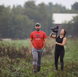 Kevin and Carrie walking the pastures for the Local Origins film