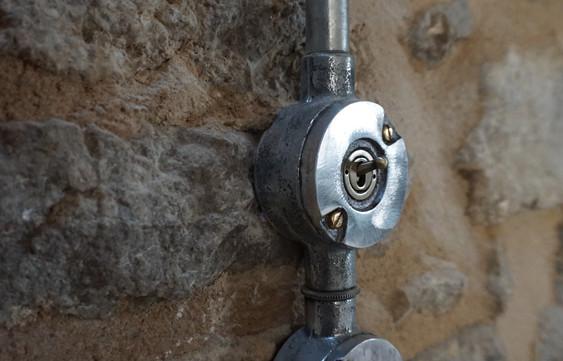 Light switches on original stone walls