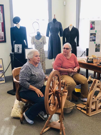 Spinners Cynthia Walker and Lynda Ingram did a wonderful demonstration of  modern spinning and how wool makes the transition from sheep to clothing!!