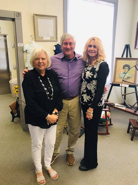 """Mike Aertka and his lovely wife were happy to see the """"Coralea Aertka Collection"""". His mother was a talented painter from Denham Springs who enjoyed painting the homes of her family."""