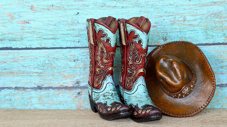 pair of colorful blue and red cowboy boots and hat standing on natural wood with a blue wo