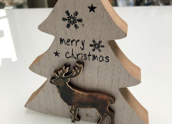 kerstboom met rendier hout