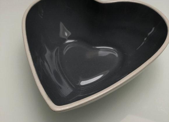 Kommetje hartvormig wit/grijs