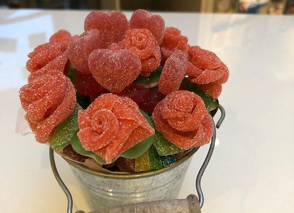 Bloempotje met roosjes en hartjes