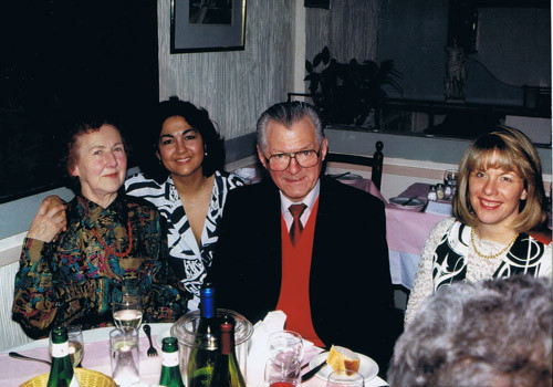 Albert Cooper (flute maker) with his wife, and Jinni in London