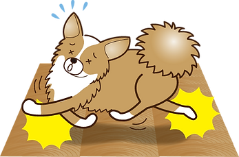 フローリングで滑る犬のイラスト