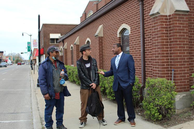 Meeting voters in West Racine