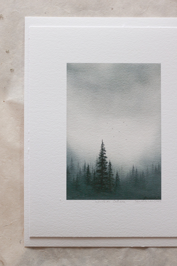 A watercolor landscape made of wintery blues