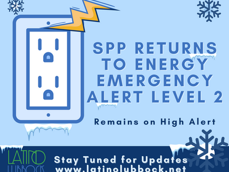 SPP Returns to Energy Emergency Alert Level 2; LP&L and Area ElectricProviders Remain on High Alert