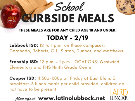 FREE CURBSIDE SCHOOL MEALS AT THREE AREA CAMPUSES