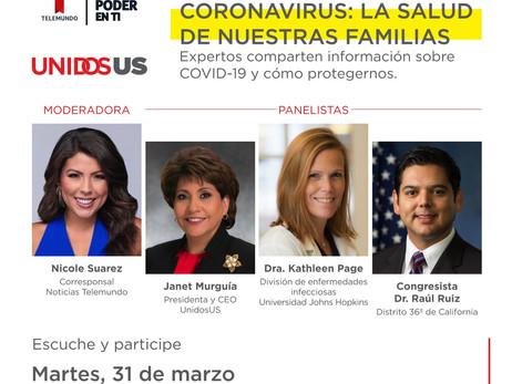 Coronavirus Tele-Town Hall: La salud de nuestras familias