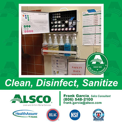 Clean Disinfect Sanitize Alsco Frank Gar