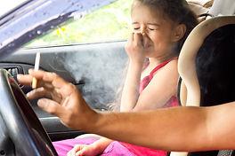 Stop smoking for children. Father smokin