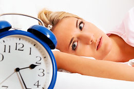 Clock with sleep at night. Woman can not