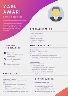 Colorful Gradient Graphic Designer Resum