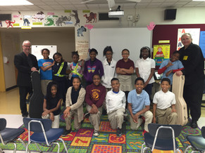 With St. Louis students during 10-school residency in 2016 (sponsored by NEA)