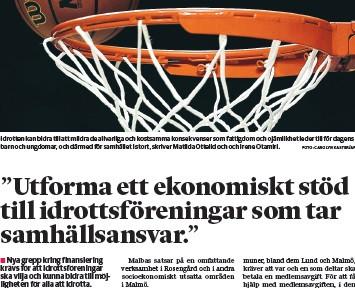 """Debattartikel: """"Utforma ett ekonomiskt stöd till idrottsföreningar som tar samhällsansvar"""""""