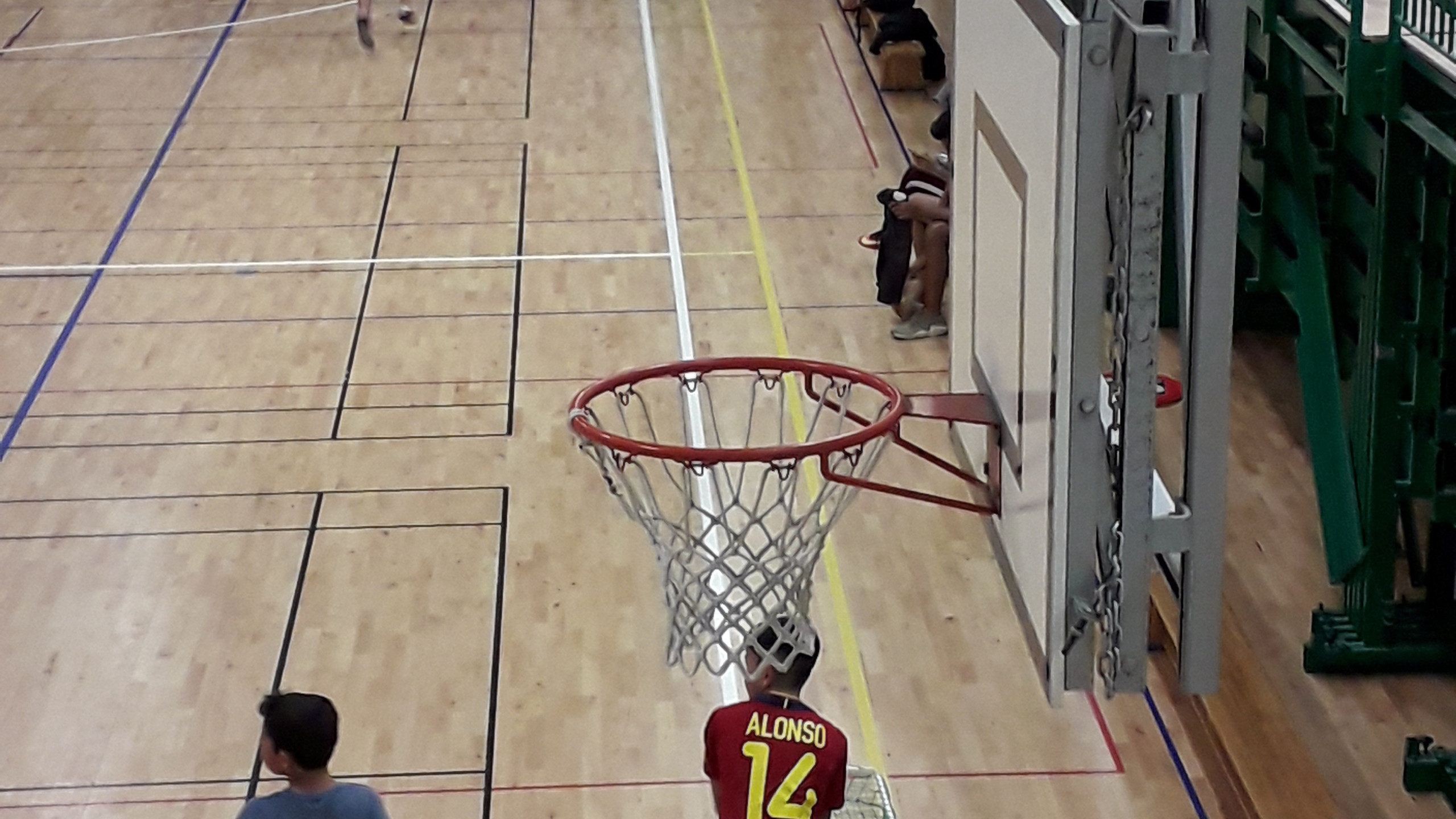 Basket rims in a row