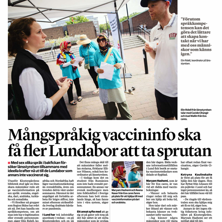 Artikel om covid-vaccinering i Sydsvenskan