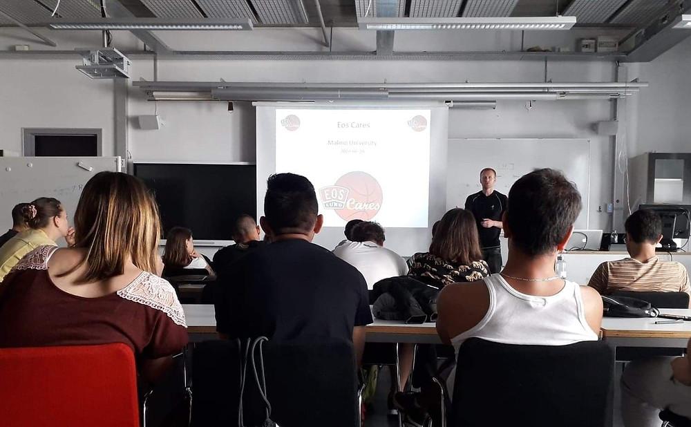 Axel Wallin while giving his presentation