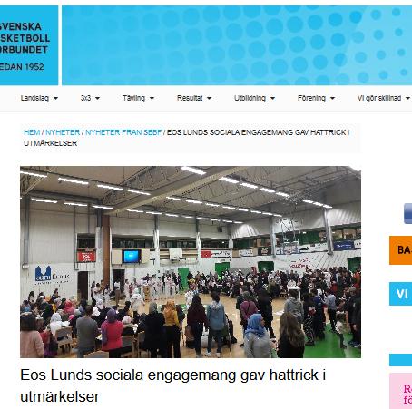 Eos' three awards draw the Swedish Basketball Federation's attention
