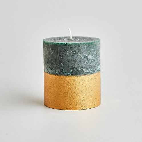 St. Eval Winter Thyme Gold Half Dipped Pillar Candle