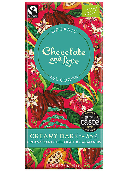 The Bay Tree Creamy Dark Chocolate & Cacao Nibs Chocolate Bar 80g