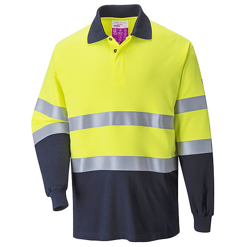 Zweifarbiges, antistatisches Flammschutz-Poloshirt, langarm