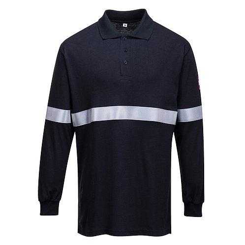 Flammhemmendes, antistatisches Langarm Poloshirt mit Reflektionsstreifen