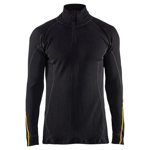 Flammschutz Unterhemd Half-Zip, 78% Merinowolle