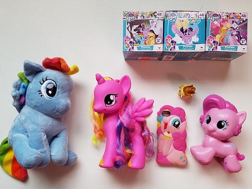 My Little Pony Mini Lot: Piggy bank, phone case, puzzles