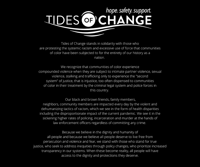Tides of Change stands in solidarity wit