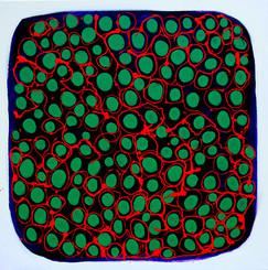 Psychoskrzek II, 100x100cm akryl/olej na