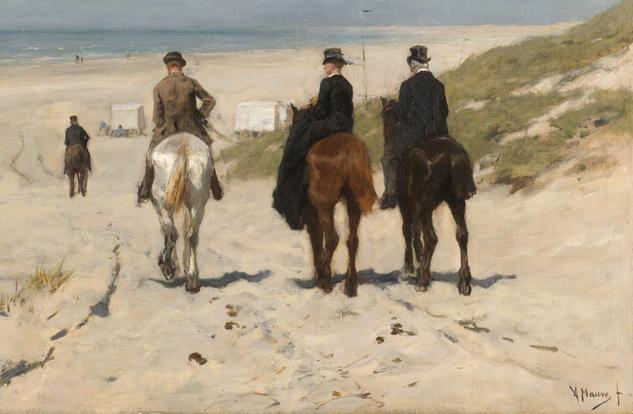 Morgenrit langs het strand, Anton Mauve, 1876