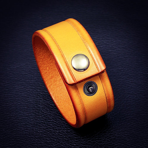 Yellow Leather Wristband