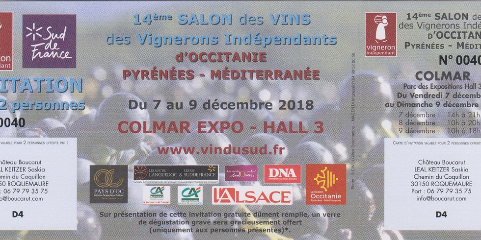 Salon des Vignerons Indépendants d'Occitanie à Colman / Stand D4