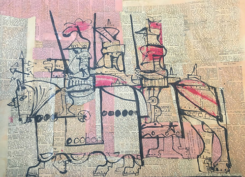 """""""The Knights"""" Paint on Newspaper Original Artwork by Unknown Artist"""