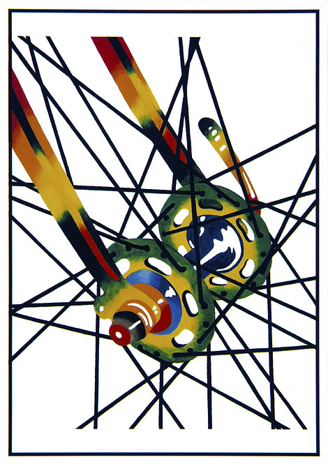 "Post Card John D Wibberley Cycle Art - Original ""Spokes"""