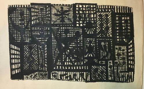 "Artist Robert Gilberg Original Pen & Ink on paper ""black Squares Abstract"""
