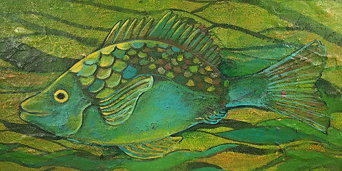 """Green Fish"" Acrylic on canvas"